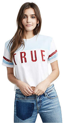 True Religion WOMENS EMBROIDERED VARSITY CROP TOP