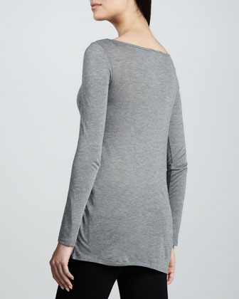 DKNY Draped Long-Sleeve Boat-Neck Tee