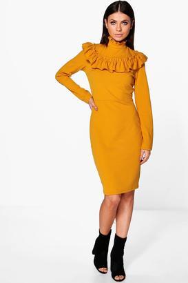 boohoo Keely High Neck Ruffle Midi Dress