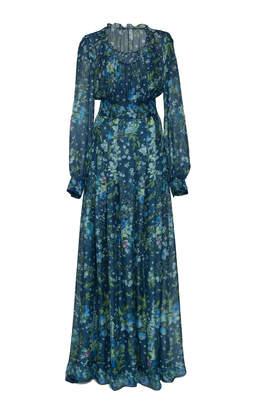 Luisa Beccaria Floral Print Silk Chiffon Gown Size: 40