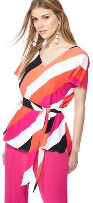 Principles Dark Peach Stripe Print V-Neck Kimono Sleeve Top