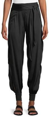 Halston Tie-Waist Flowy Cuffed Pants