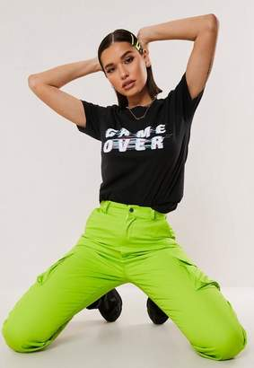 Missguided Black Game Over Graphic T Shirt