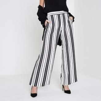 River Island Womens Petite white stripe wide leg pants