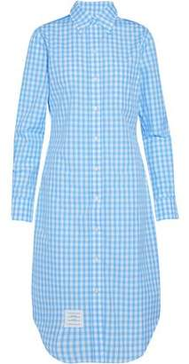 Thom Browne Floral Print-Paneled Gingham Cotton-Poplin Shirt Dress