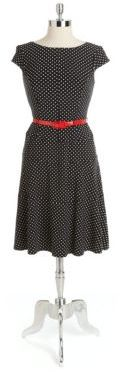 Anne Klein Belted Dotted A Line Dress