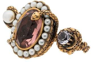 Alexander McQueen snake jewelled dual ring