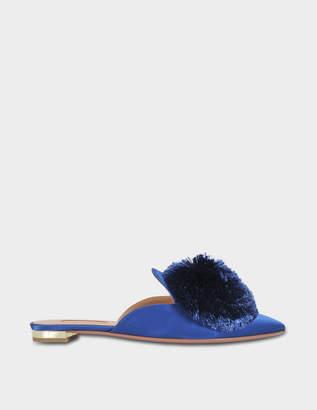 Aquazzura Powder Puff Flat Shoes in Ble Blue Bell Satin