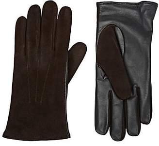 Barneys New York Men's Tech-Smart Suede Gloves - Open