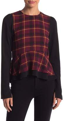 Romeo & Juliet Couture Plaid Ruffle Hem Blouse