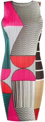 Pleats Please Issey Miyake colour block pleated dress
