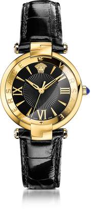 Versace Revive 3H Black and PVD Gold Plated Women's Watch w/Croco Embossed Band