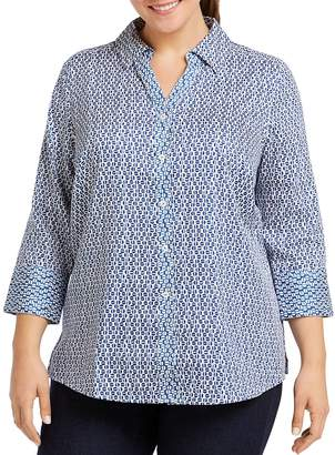 Foxcroft Plus Mary Dotted Button-Down Top