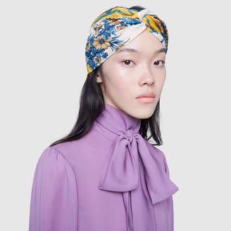 Silk headband with flowers and tassels