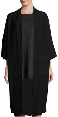 Eileen Fisher Fisher Project Lightweight Boiled Wool Coat, Black $318 thestylecure.com