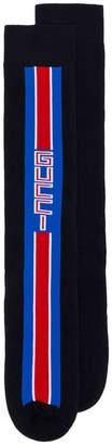 Gucci navy and black Lostoron logo striped cotton blend socks