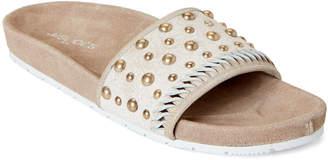 J/Slides Bronze Nora Studded Leather Slide Sandals