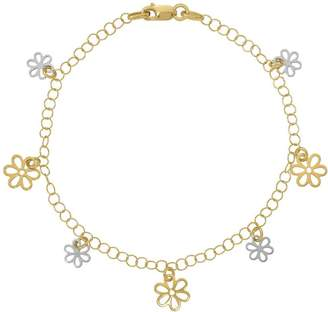 "Italian Gold 7-1/2"" Two-Tone Flower Dangle Bracelet 14K, 2.3g"