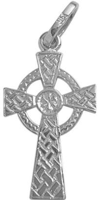Celtic Elite Jewels 14 Karat White Gold Small Religious Cross with 18 Inch Chain