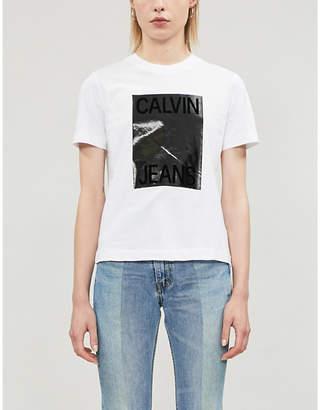 Calvin Klein Shiny logo-print cotton-jersey T-shirt