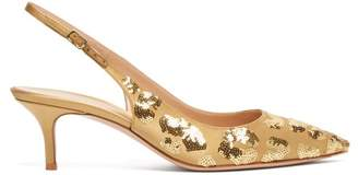 Gianvito Rossi Daze 55 Sequined Slingback Pumps - Womens - Gold