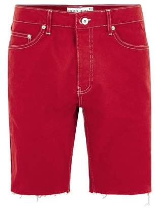 Topman Mens Red Denim Stretch Skinny Shorts