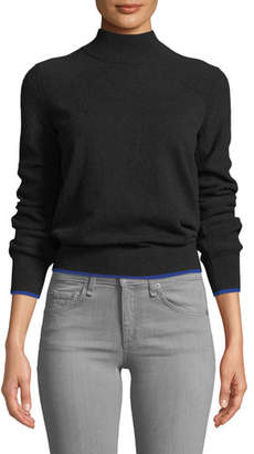 Rag & Bone Yorke Turtleneck Mesh-Stitch Sleeves Cashmere Sweater