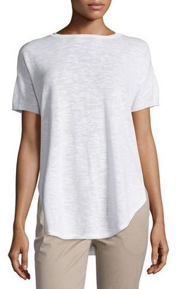 Eileen Fisher Short-Sleeve Organic Slub Top $168 thestylecure.com