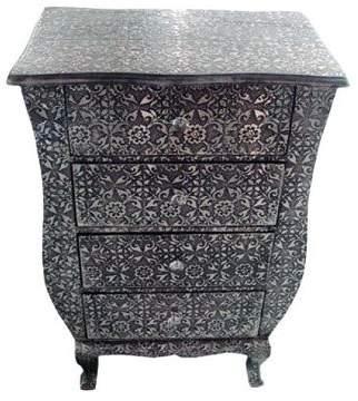 Big Living Chaandhi Kar Black-Silver Embossed 4-Drawer Chest Of Drawers Width: 55Cm