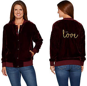 At Qvc  C B Peace Love World Velvet Bomber With Embroideredaffirmation
