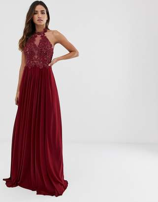 Jovani halter neckline maxi dress with lace detail