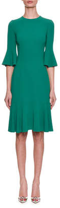 Dolce & Gabbana Elbow-Sleeve Crepe Knee-Length Sheath Dress w/ Flounce Hem