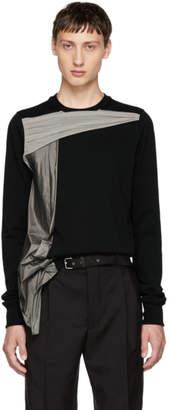 Rick Owens Black and Grey Panelled Crewneck T-Shirt