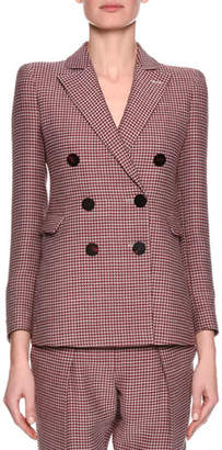 Giorgio Armani Houndstooth Double-Breasted Novelty Jacket, Red