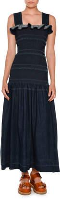 Stella McCartney Sleeveless Smocked Denim Maxi Dress