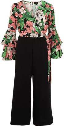 River Island Womens Pink floral wrap frill culotte jumpsuit