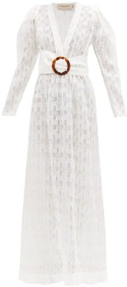 Adriana Degreas Belted Silk Blend Fil Coupe Maxi Dress - Womens - White