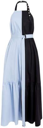 Tibi Tech Poplin Colorblock Halter Dress