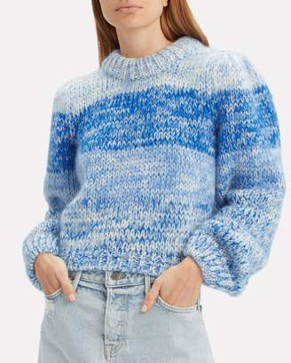Ganni Hand Knit Lapis Blue Striped Sweater