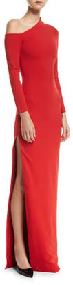 SOLACE London One-Shoulder High-Slit Crepe-Knit Gown