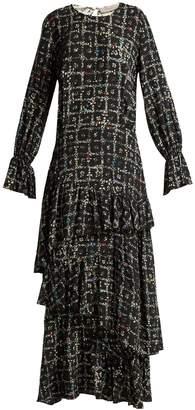 Preen Line Amina tiered vine-print dress