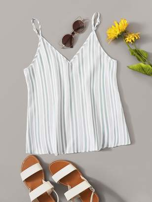 Shein V Neck Vertical Striped Cami Top