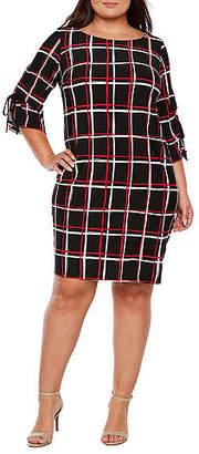 Studio 1 Long Sleeve Stripe Shift Dress - Plus