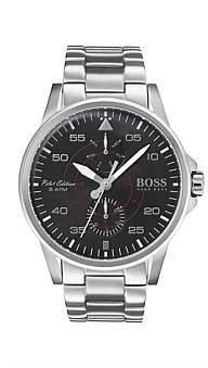 Boss Black Hugo Gents Aviator Multifunction Ss Rnd Blk Dial Ss Bracelet