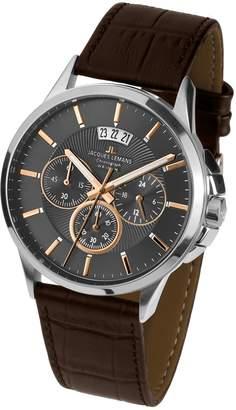 Jacques Lemans Men's 42mm Brown Leather Band Steel Case Quartz Dial Chronograph Watch 1-1542H