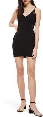 Topshop Mesh Inset Body-Con Dress