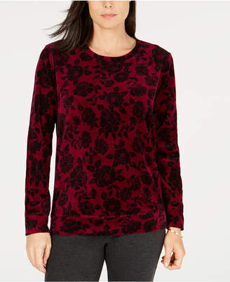 Karen Scott Floral Printed Velour Sweatshirt