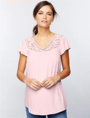 Daniel Rainn Lace Trim Maternity Shirt