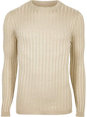 River Island Mens Beige chunky ribbed muscle fit jumper