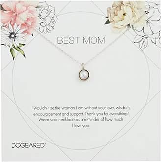 Dogeared Best Mom Flower Card Large Bezel Pearl Pendant Chain Neckalce